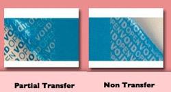 Sicherheitsetiketten Patial Transfer Non Transfer